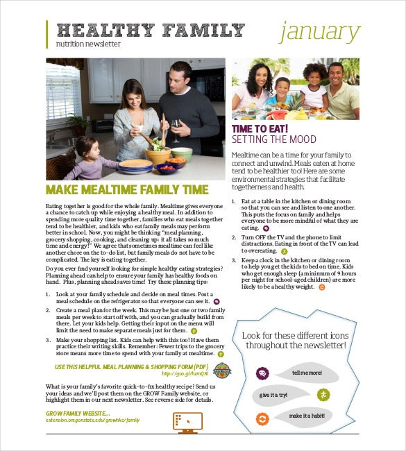 healthy family nutrition newsletter