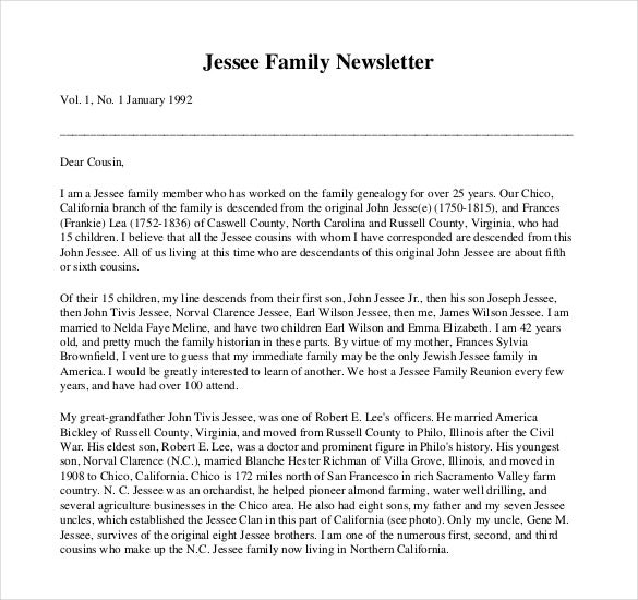 10+ Family Newsletter Templates - Free Sample, Example, Format