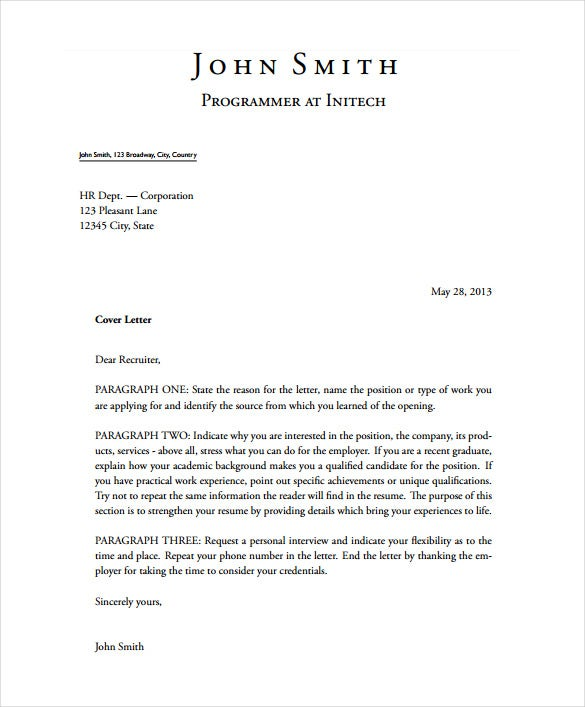 sample cover letters free - Cover Letter Formatting
