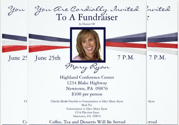 political fundraiser invitation with photo of women