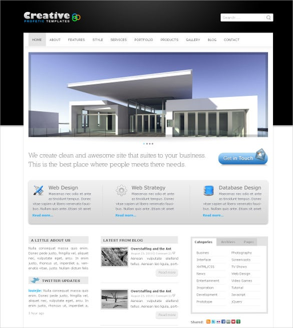 professional clean business creative php template