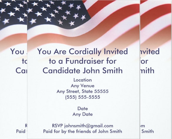 Wonderful Flag Political Fundraiser Invitation To Fundraising Invitation Samples