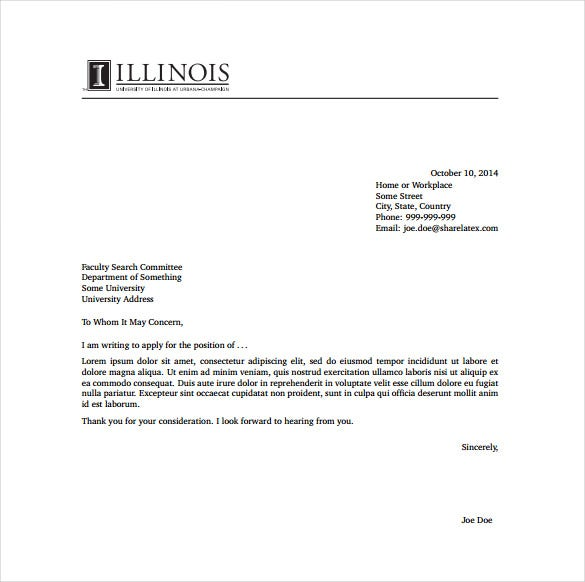 Sample Cover Letter Example Template: 15+ General Cover Letter Templates