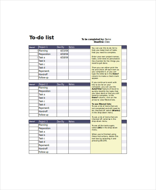 project to do list template1
