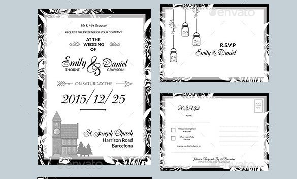 black whitetri fold wedding invitation pack