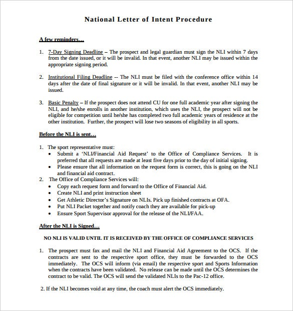 national letter of intent procedure template printable pdf