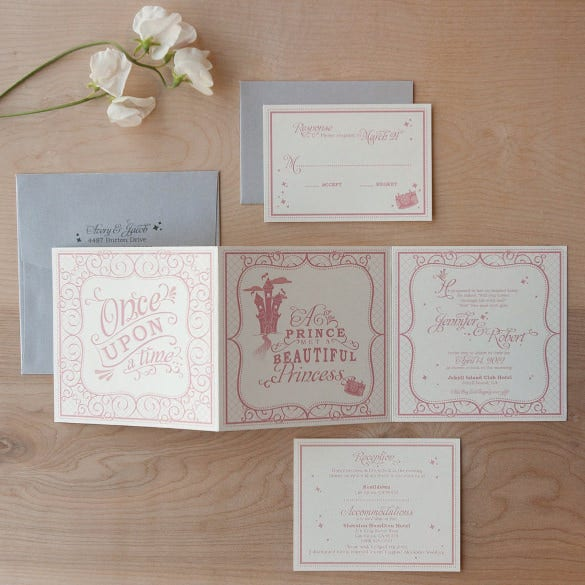ever after fairytale tri fold wedding invitation