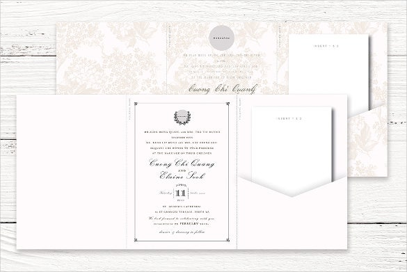 Tri Fold Wedding Invitation Card