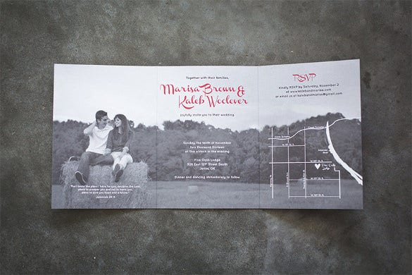 tri fold wedding invitation suite design fee only