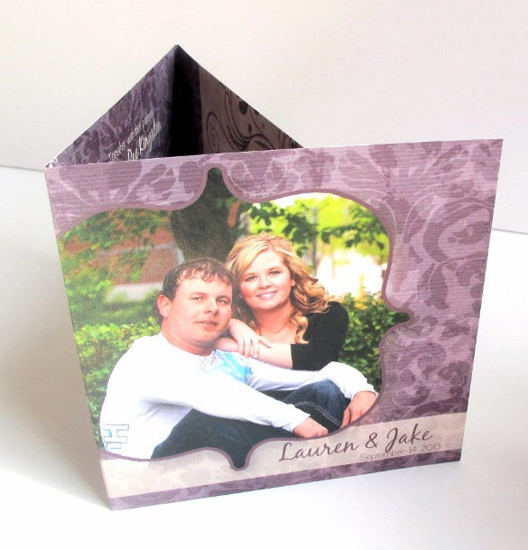 tri fold wedding invitation complete with photo tear off rsvp card all in one
