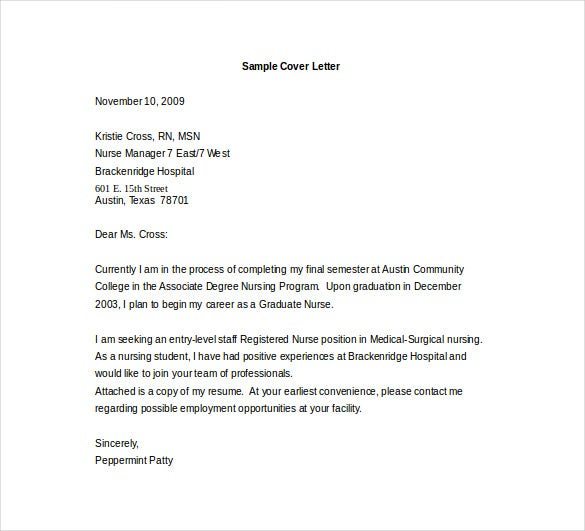 Entry Level Cover Letter For Nurse Word Template Free