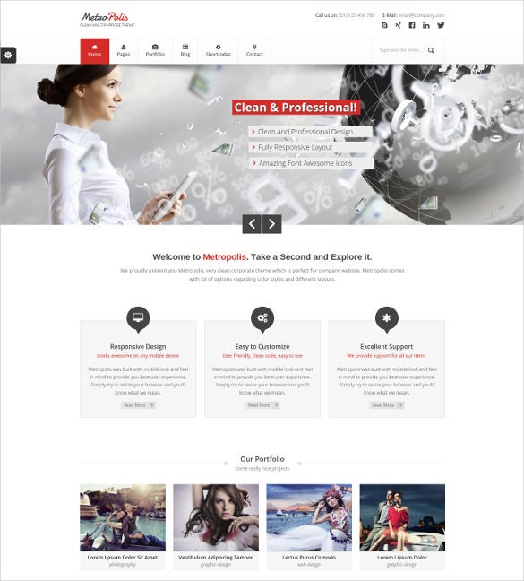 clean multipurpose wordpress website theme