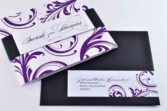 purple and black tri fold wedding invitation