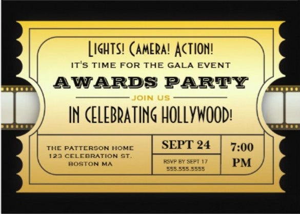 15 award invitation templates free sample example format annual movie awards party golden ticket stopboris Images