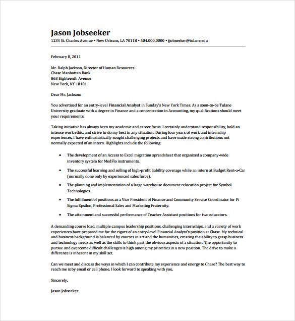 entry level financial analyst pdf format template free download - Sample Entry Level Cover Letter