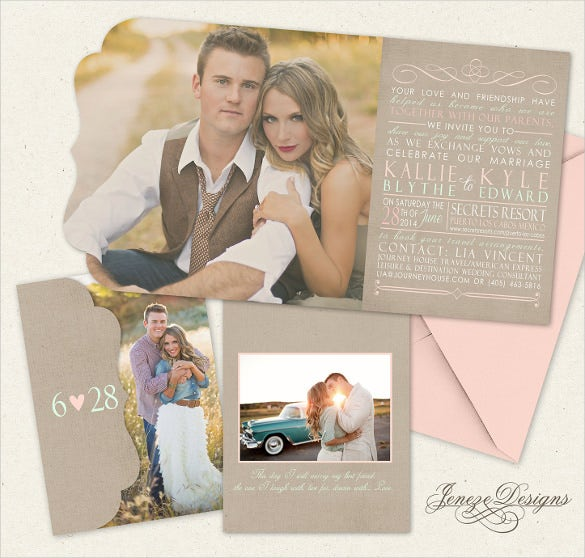 mint and rose tri fold wedding invitation boutique tri folded design