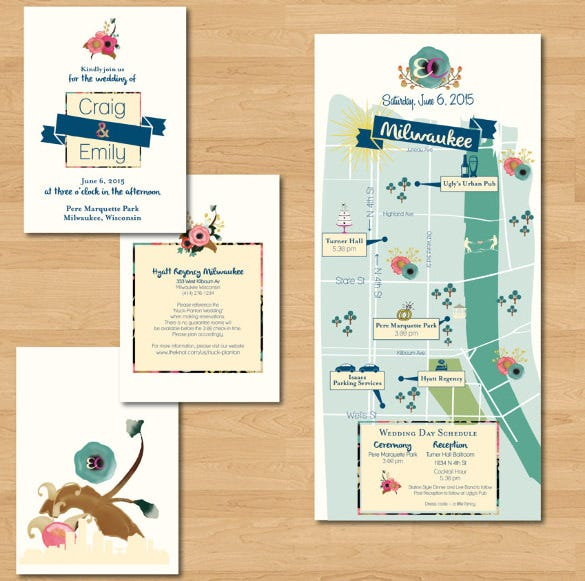 Floral Watercolor Tri Fold Wedding Invitation Suite with Map