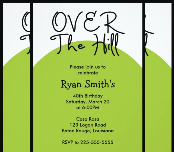 over the hill birthday todays best award invitation card