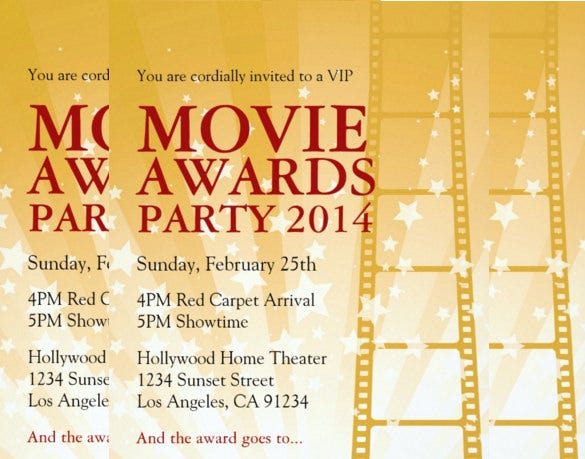 movie awards party invitation card for everyone