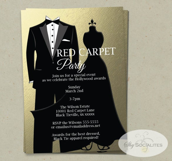 gold black tie invitation awards ceremony red carpet party
