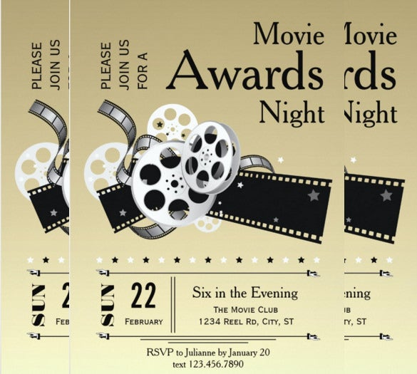 film reel movie awards party invitation card