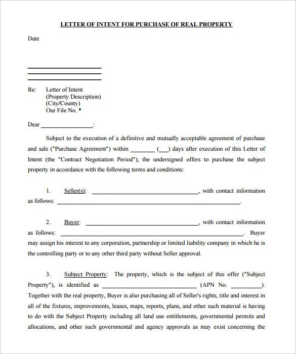 Printable Letter Of Intent For Purchase Of Real Property PDF  Free Letter Of Intent Sample