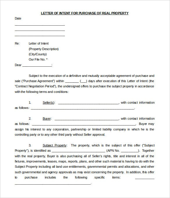 Real Estate Letter of Intent 10 Free Word PDF Format Download – Real Estate Purchase Agreement Template Free