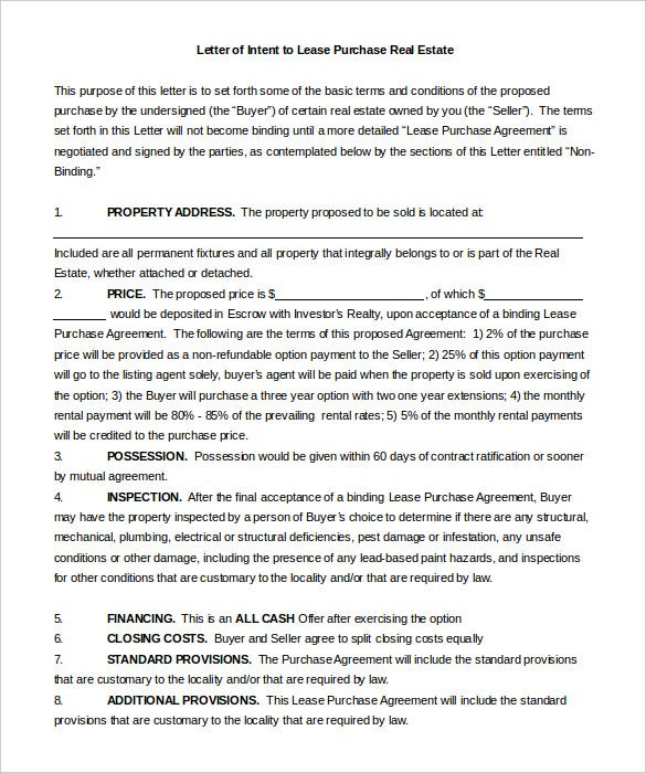 Real Estate Letter Of Intent   Free Word Pdf Format Download