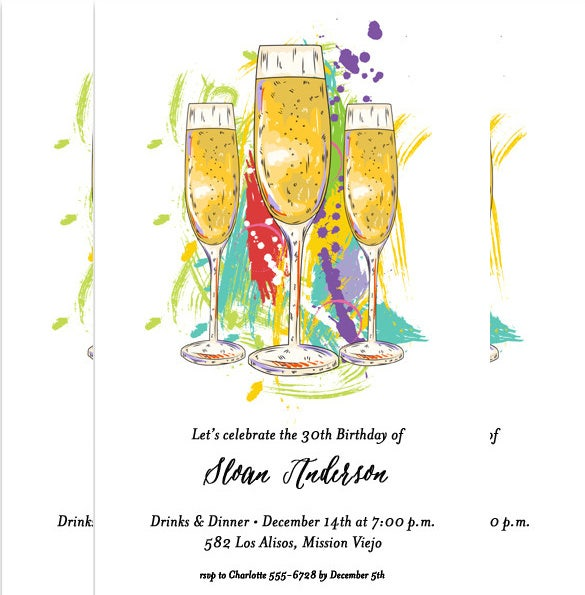 abstract champagne glasses awards party invitations