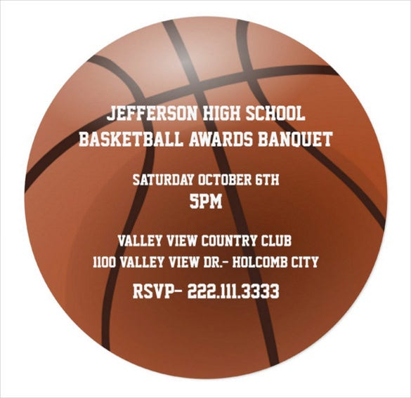 brown basketball awards banquet invitation card