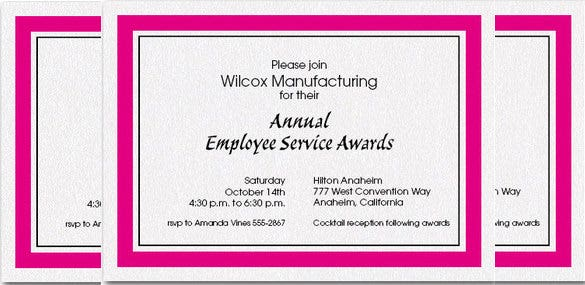 hot pink bordered shimmery white invitation for awards