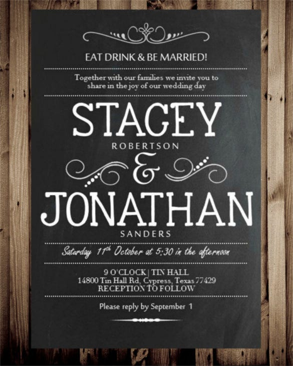 Chalkboard Wedding Invitation Templates  Free Sample Example