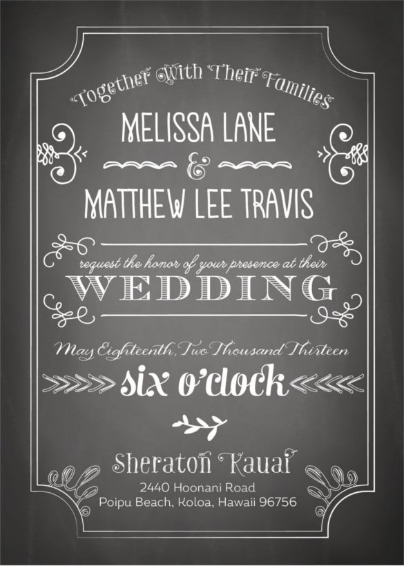 chic chalkboard wedding invitation template