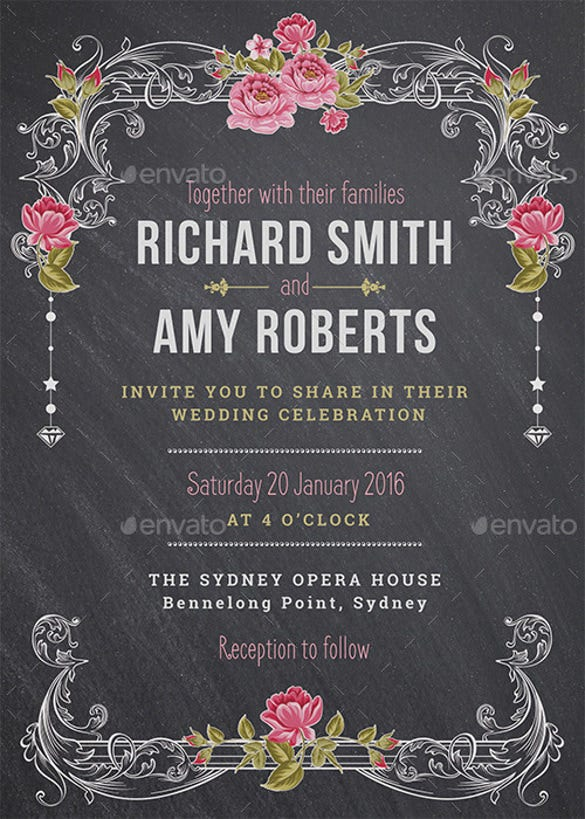26 Chalkboard Wedding Invitation Templates Free Sample Example