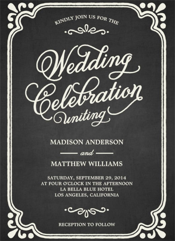 chalkboard union wedding invitation templte