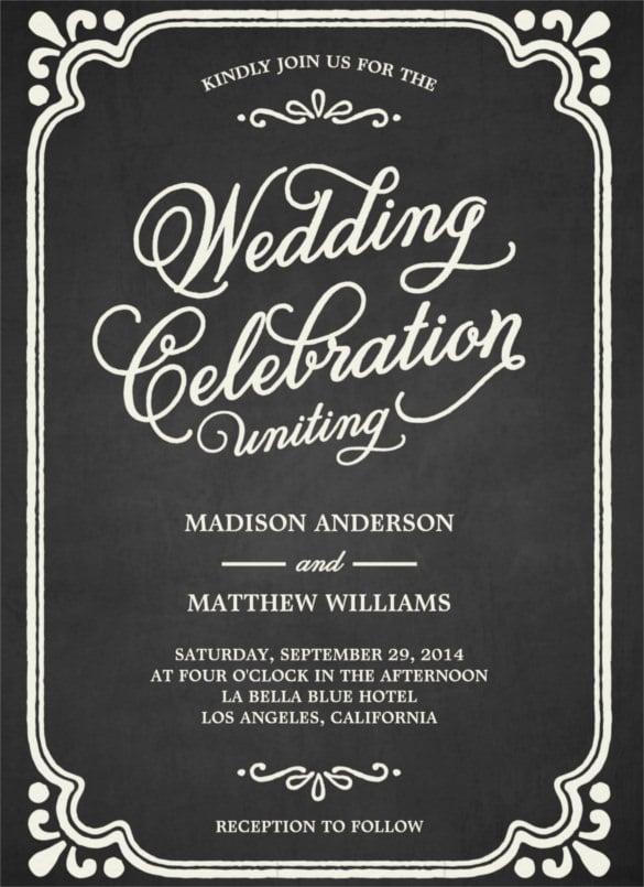 Chalkboard Union Wedding Invitation Templte