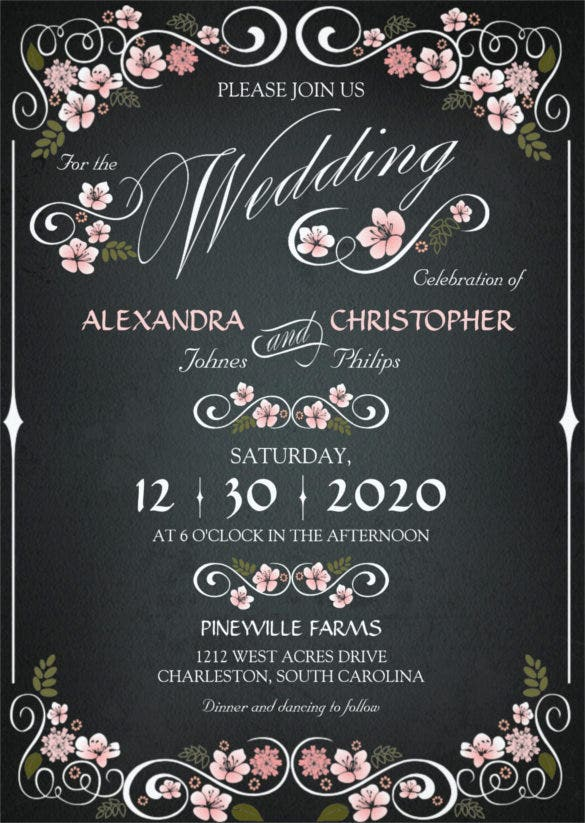 chalkboard floral vintage bold wedding invitation