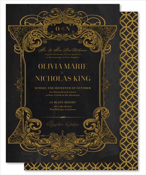 golden chalkboard wedding invite template