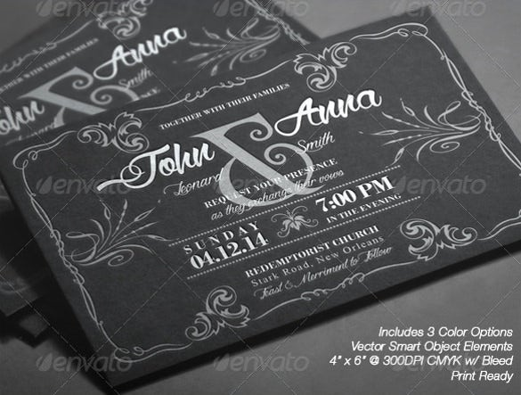 vintage chalkboard wedding invitation template