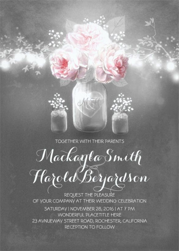 chalkboard mason jar wedding invitation template