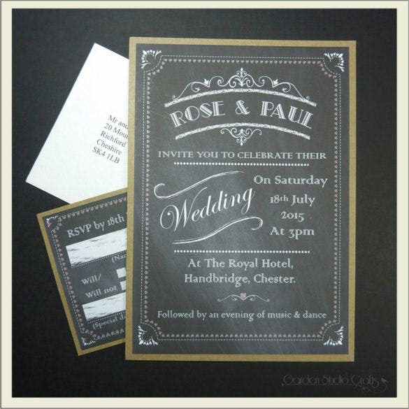 chalkboard wedding invitation retro flat invitation