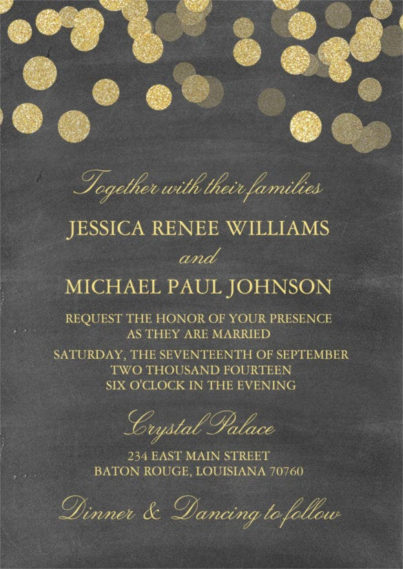 chalkboard gold glitter wedding invitation