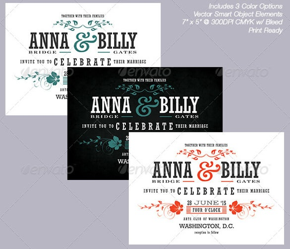 Typographic Chalkboard Wedding Invitation Template