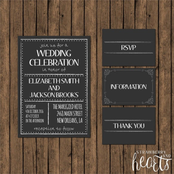 printable chalkboard wedding invitation suite