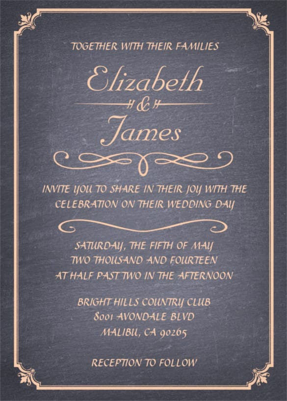 coral vintage chalkboard wedding invitation template
