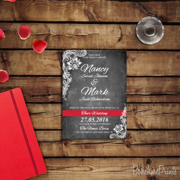black and white chalkboard wedding invitation suite