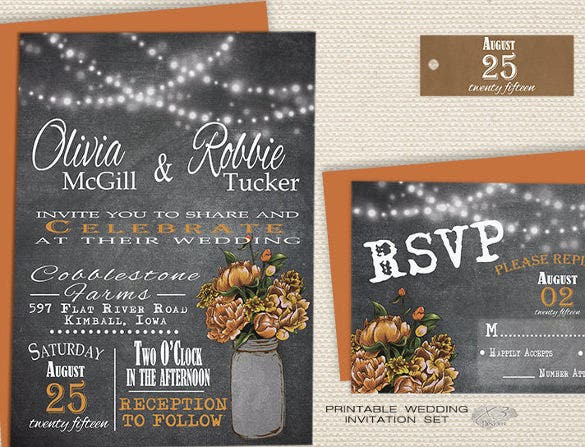 orange peonies in mason jar chalkboard wedding invitation1