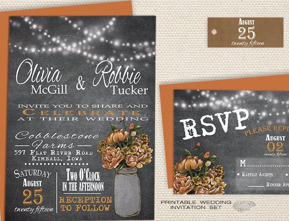 orange peonies in mason jar chalkboard wedding invitation1