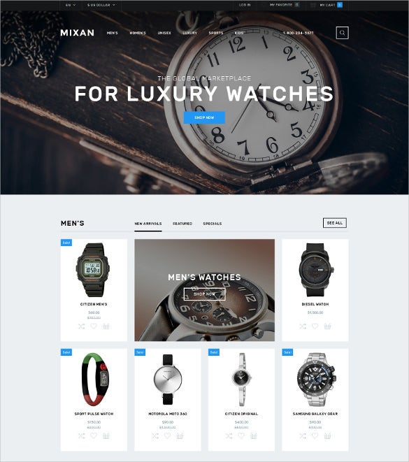 creative watches shop opencart template