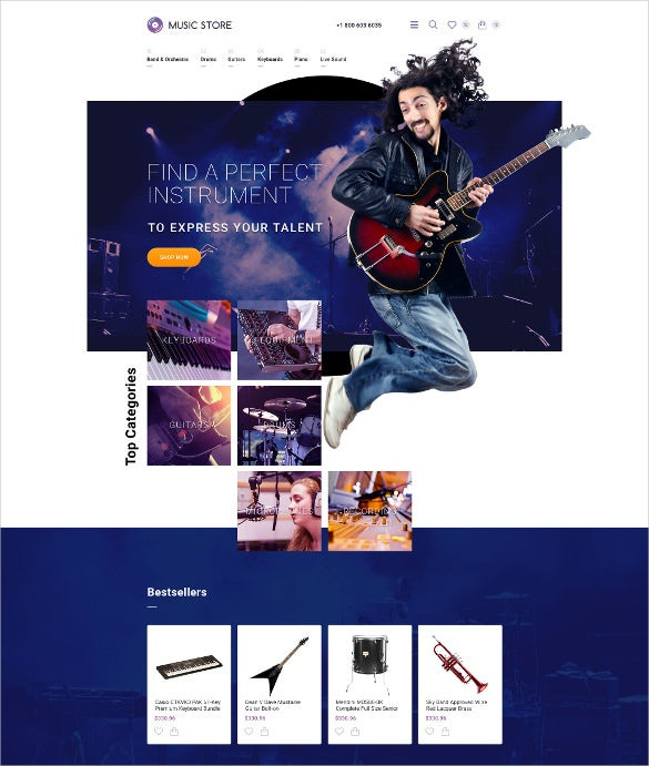 creative musical instruments opencart template